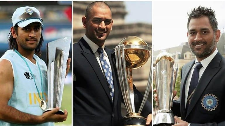 MS Dhoni posing with all the three ICC trophies he has won as the Indian captain.
