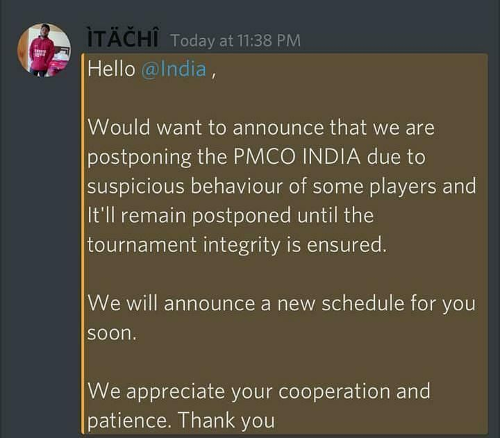 PMCO Fall Split India Postponed