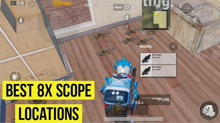 Best locations to find 8x scope in PUBG Mobile