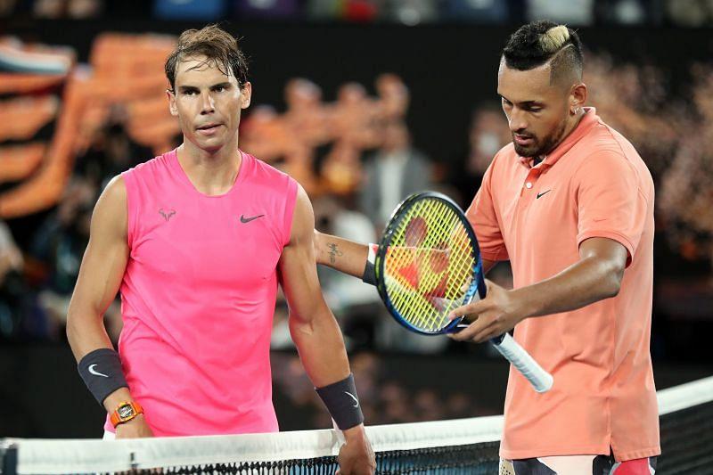 Rafael Nadal beat Nick Kyrgios in the Australian Open earlier this year
