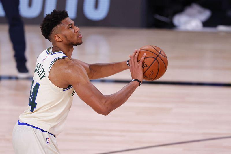 Giannis Antetokounmpo in action for the Milwaukee Bucks