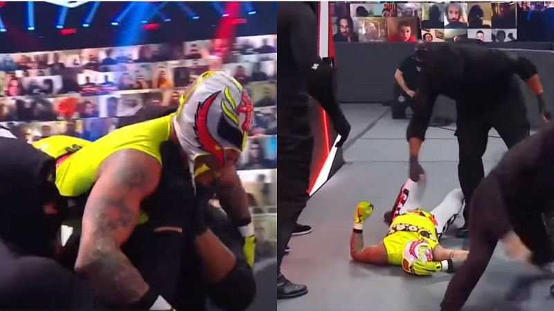 Rey Mysterio and Dominik were attacked by RETRIBUTION on RAW.