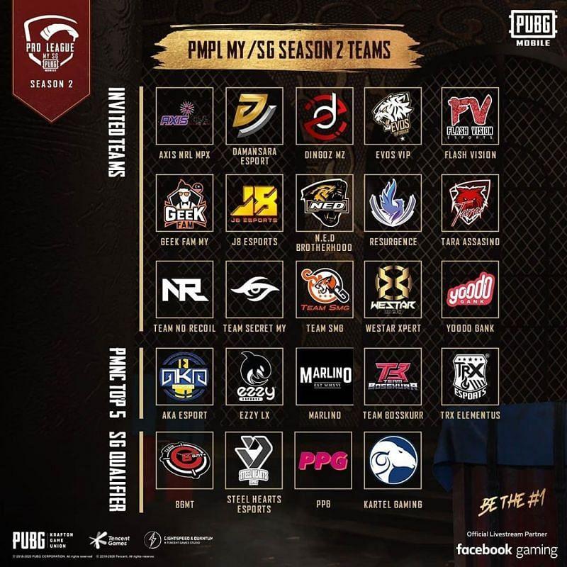 PMPL S2 MY/SG participating teams