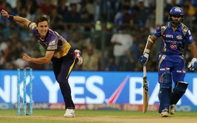 Boult pictured in action against his current IPL franchise