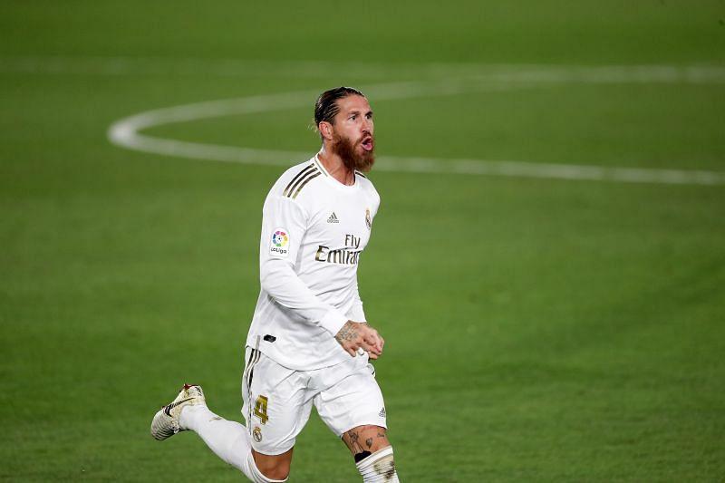 Sergio Ramos celebrates a goal for Real Madrid