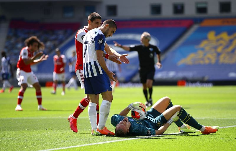 Arsenal fans feared the worst as Bernd Leno was carried off at Brighton.