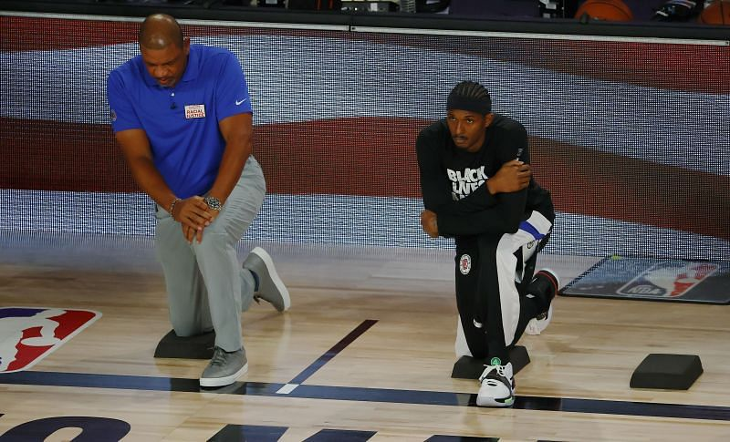 Doc Rivers and the LA Clippers taking a knee before last night