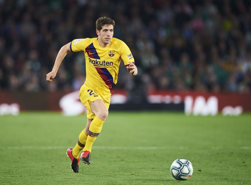 Sergi Roberto of FC Barcelona in action during a Liga match against Real Betis