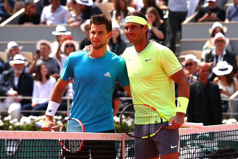 Dominic Thiem (L) and Rafael Nadal at French Open 2019