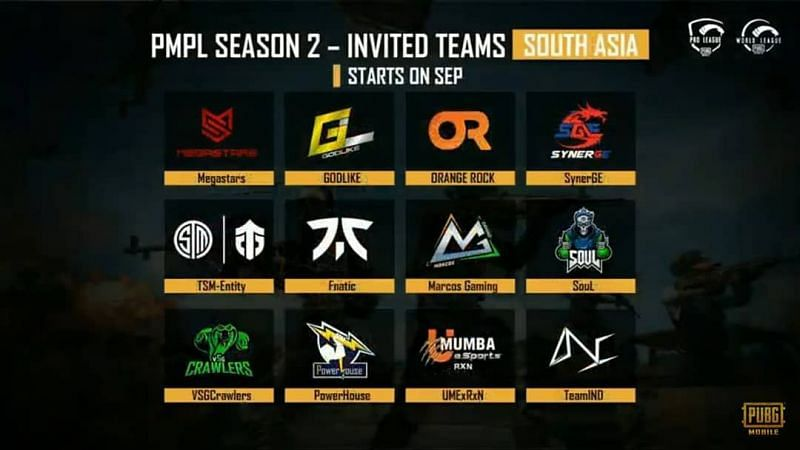 Invited Teams for PMPL South Asia s2