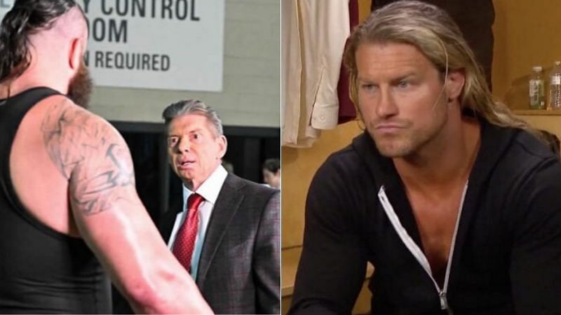 Braun Strowman and Vince McMahon (left); Dolph Ziggler (right)