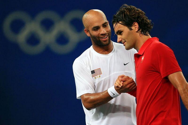 James Blake after defeating Roger Federer