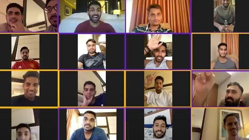 KKR players connected over a group video call during quarantine protocol