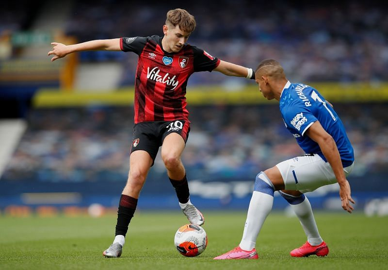 David Brooks of AFC Bournemouth battles for possession with Richarlison of Everton