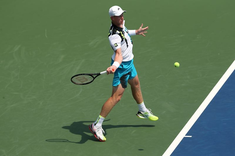 Kyle Edmund plays a forehand at the 2020 Western & Southern Open