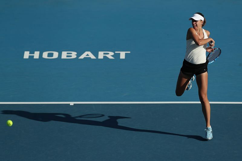 Magda Linette lost to Lauren Davis in straight sets at Hobart earlier this year.