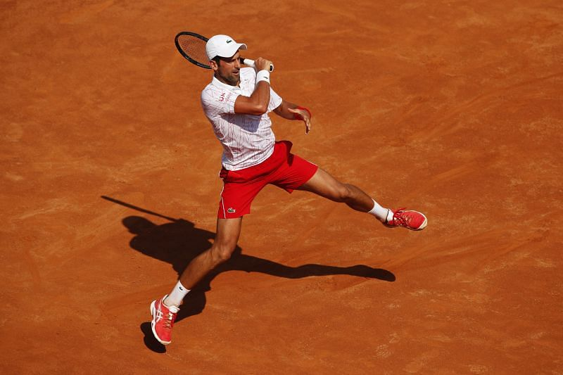 Novak Djokovic in action at the Rome Masters
