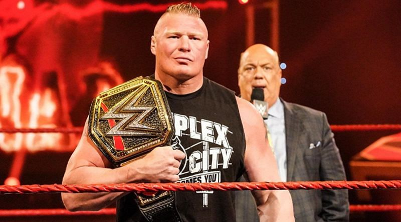 Brock Lesnar as WWE Champion with Paul Heyman