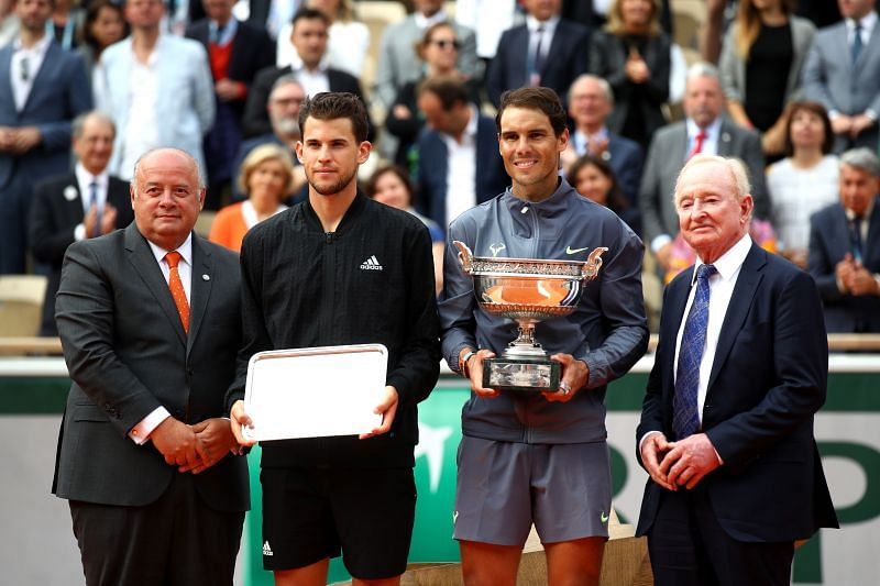 Dominic Thiem and Rafael Nadal at the 2019 French Open