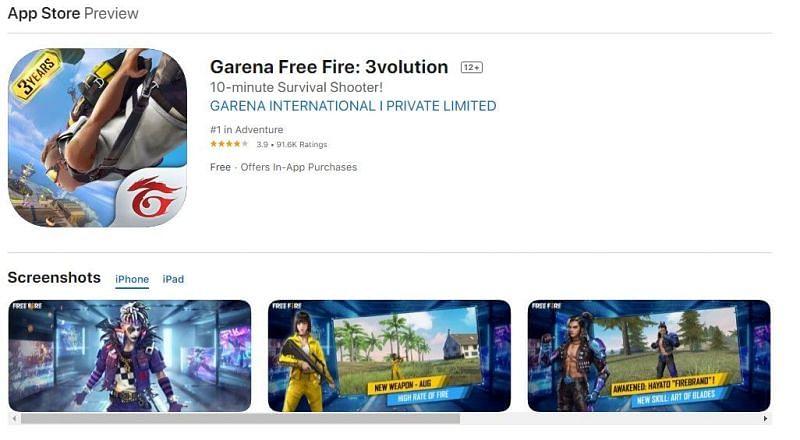 Free Fire on Apple App Store