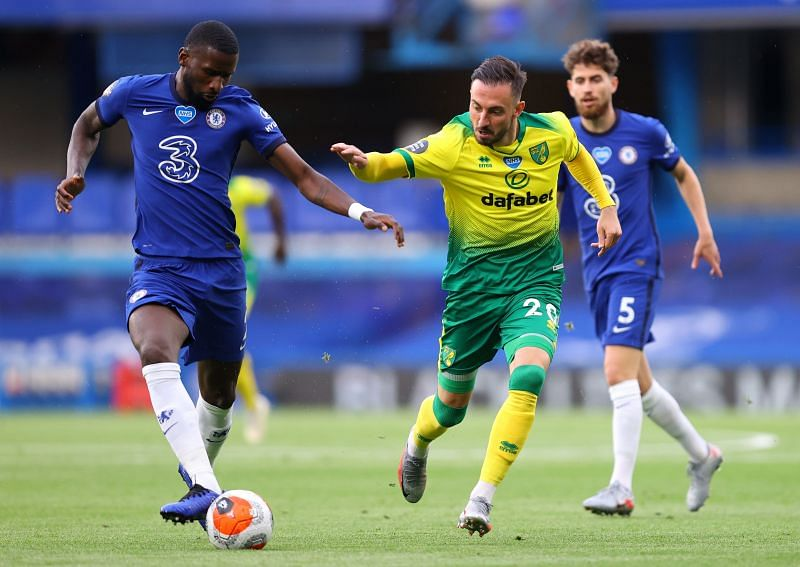 Antonio Rudiger in action for Chelsea against Norwich