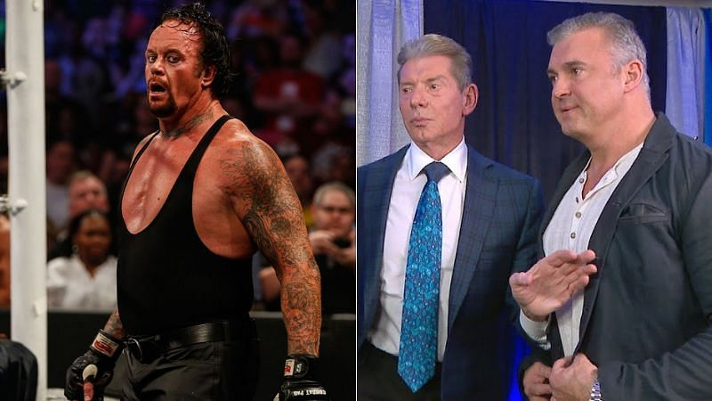 The Undertaker (left); Vince McMahon and Shane McMahon (right)