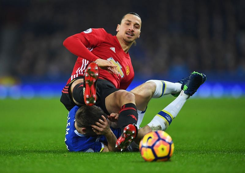 Just Zlatan Ibrahimovic casually resting on top of Seamus Coleman during his Premier League stint