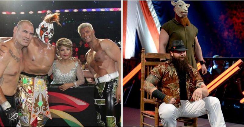 Cody Rhodes with Cain Velasquez; Bray Wyatt and Erick Rowan