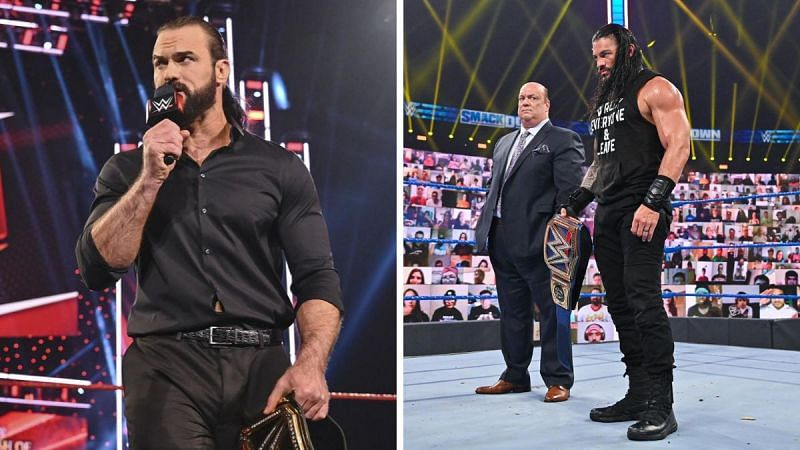Drew McIntyre (left); Paul Heyman, and Roman Reigns