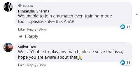 Snippet of the comment section from their recent Facebook post