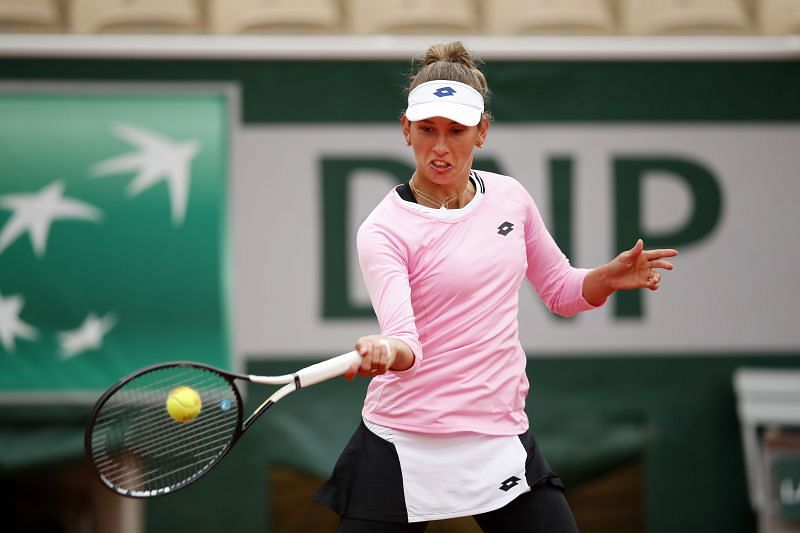 Elise Mertens during her first round match at the 2020 French Open