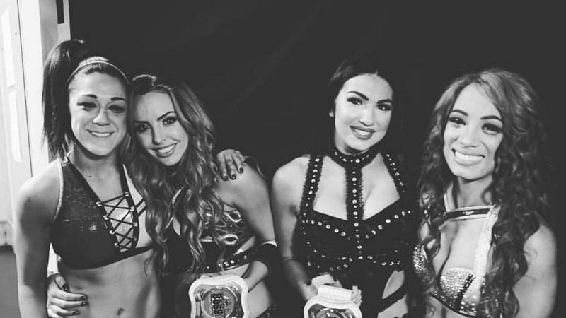 The IIconics, Sasha Banks and Bayley backstage at WrestleMania last year