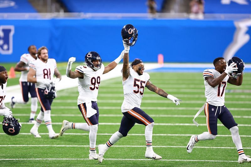 Chicago Bears celebrating their comeback win vs the Detroit Lions