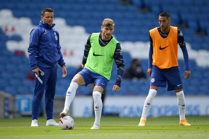 New signings Timo Werner and Hakim Ziyech warms up ahead of the pre-season friendly against Brighton