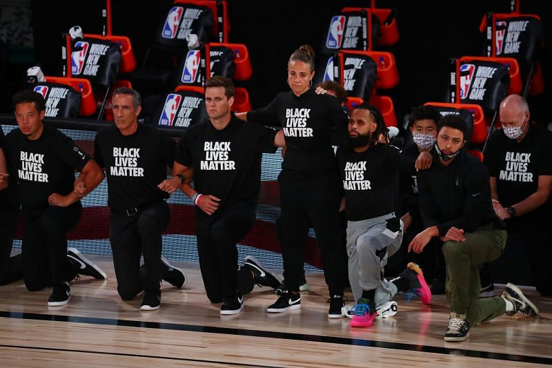 Players and staff members across the NBA have taken a knee in support of the Black Lives Matter movement