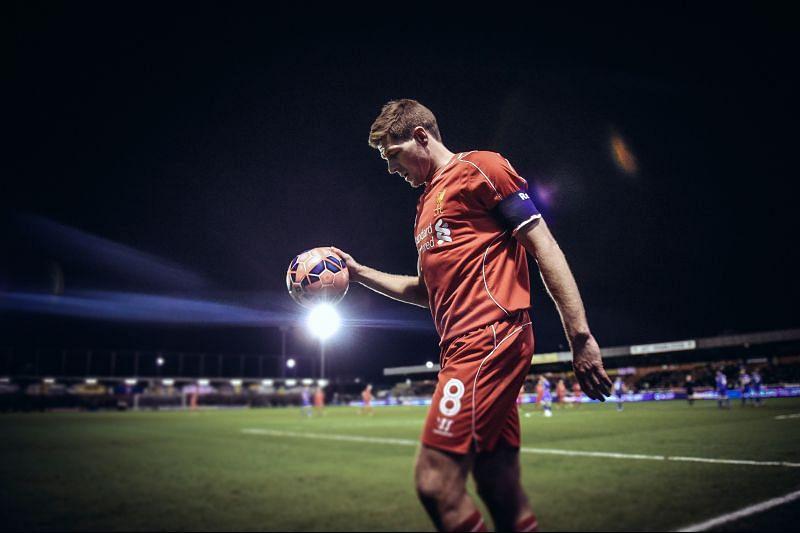 Steven Gerrard in action for Liverpool.