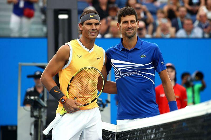 Rafael Nadal (L) and Novak Djokovic