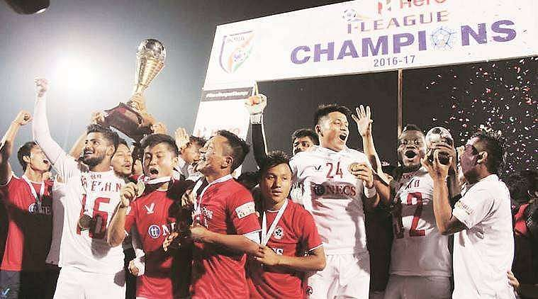 Aizawl FC players celebrate after winning the I-League in classic underdog fashion