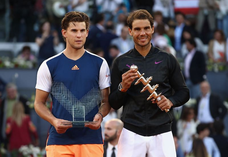 Dominic Thiem (L) and Rafael Nadal at the 2017 Madrid Masters