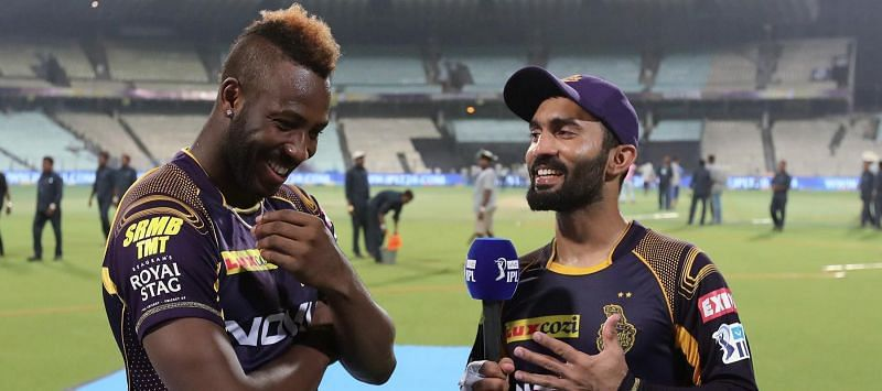 There were speculations of problems between Russell and DK last year. Image Credits: IPLT20.com