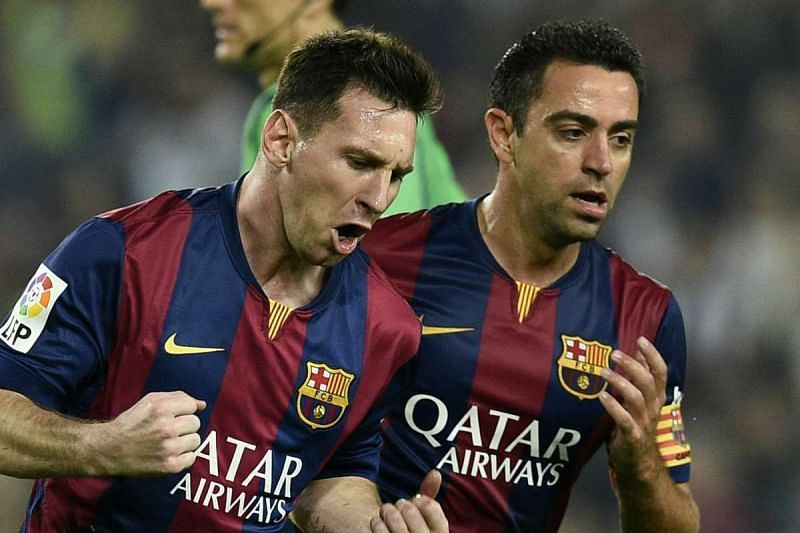 Lionel Messi (left) and Xavi Hernandez (right)