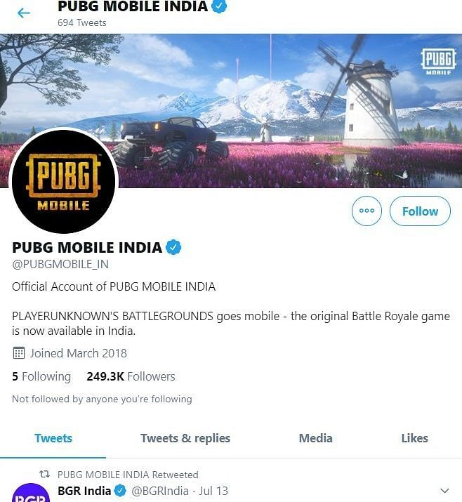 Official page of PUBG Mobile India which shows that no tweet has been made