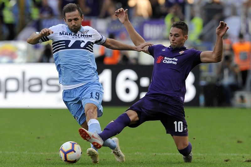 Marko Pjaca (right) during his loan spell at Fiorentina
