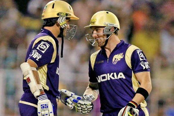 Brendon McCullum and Sourav Ganguly batting together for KKR