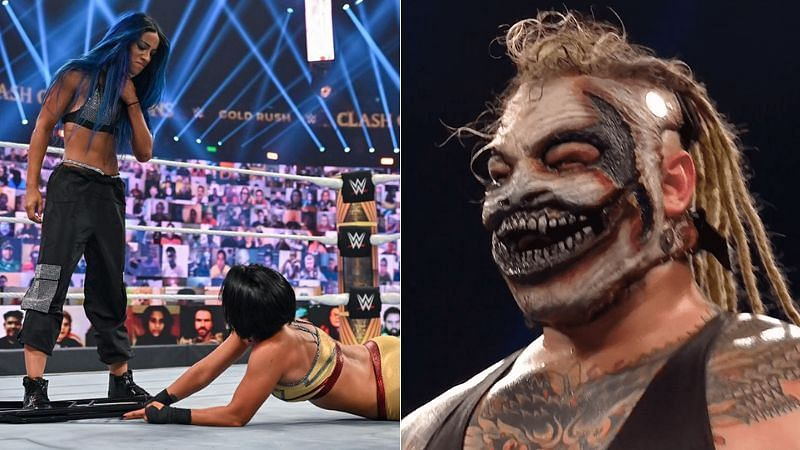 "Sasha Banks and Bayley (left); ""The Fiend"" Bray Wyatt (right)"