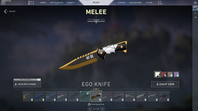 The EGO and SMite have disappointing melee cosmetics (image from Valorant store)