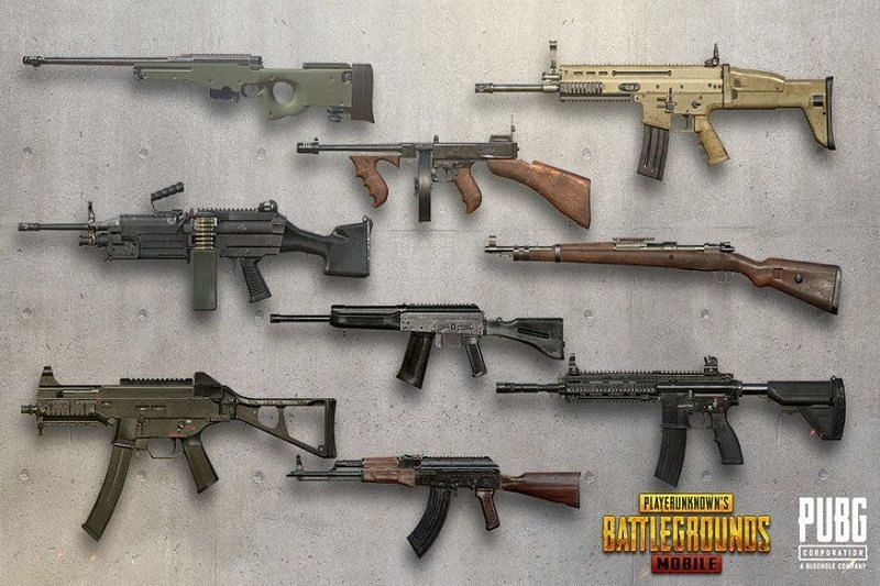 Weapons in PUBG Mobile (Image credits: Gamepur)