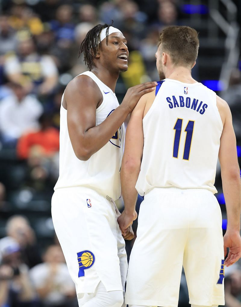 Myles Turner (left) and  Domantas Sabonis (right) together actually hurt the Indiana Pacers.