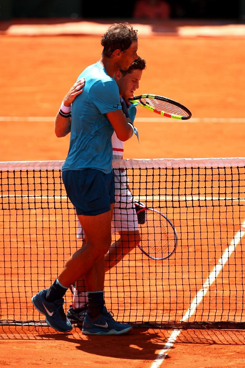 Rafael Nadal and Diego Schwartzman at the 2018 French Open