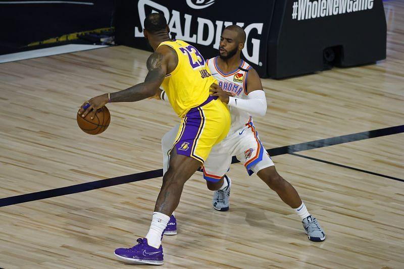 Chris Paul guarding LeBron James